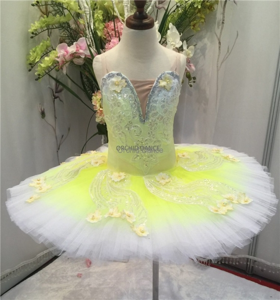 BT00033 Kids Girls Professional Yellow Ballet Tutu