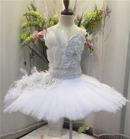BT00034 Girls White Red Swan Lake Ballet Tutu